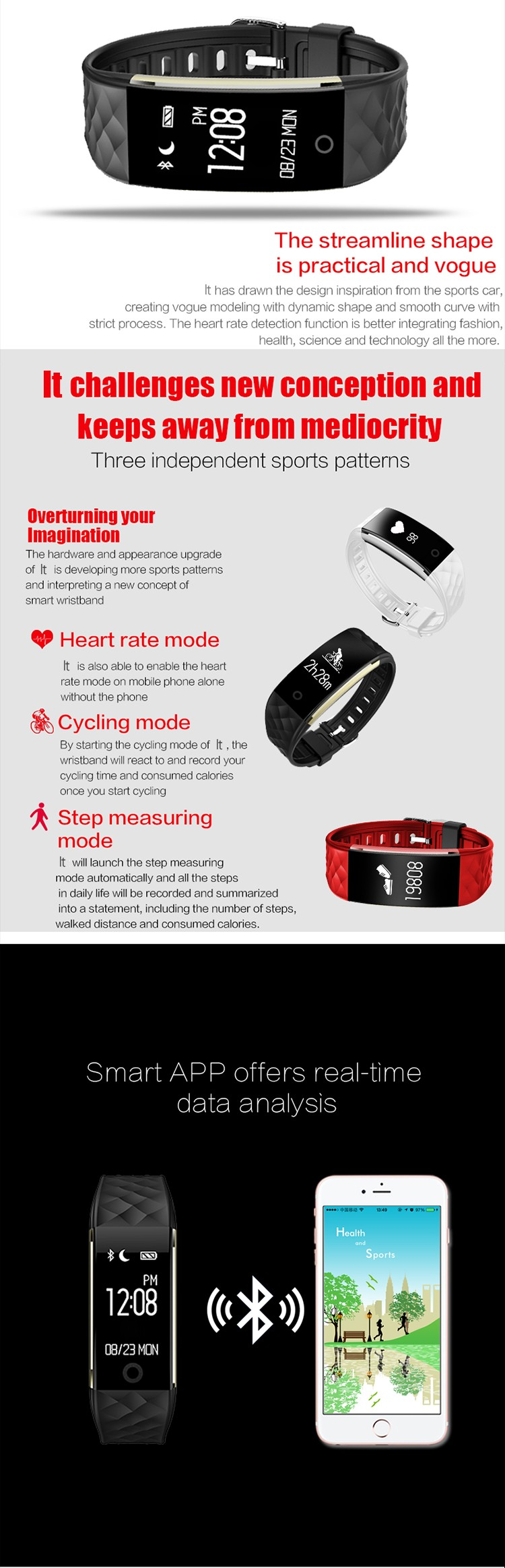 Sports heart rate monitor gps tracking fitness led silicon smart wristband
