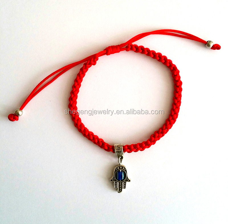 Red String Hamsa Charm Bracelet Against Evil Eye