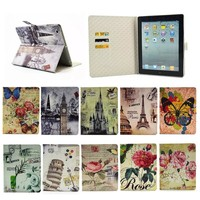 Fancy Tower/flower/butterfly Flip Leather Wallet case for ipad 2 3 4, for ipad 2 3 4 PU Leather case, New coming