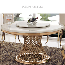 high quality living furnture modern nest design stainless steel frame marble retangular top lazy Susan dining table turn table
