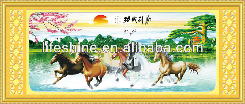 Hot product diamond painting 8 horses painting