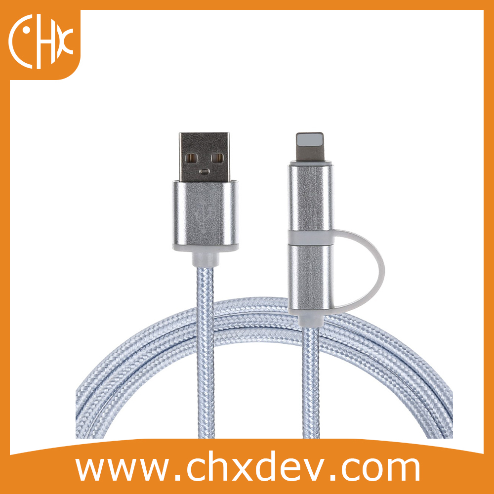Braided Micro USB Cable 2 in 1 Fast Charger Data USB Cable for Xiaomi 4C Nexus 5X 6P Nokia N1 One Plus 2 3 3T