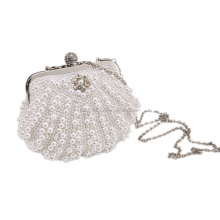 Luxury shining pearl cute shell shaped ladies stylish evening clutch bags