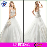 Charming OEM Service Ball Gown Sweetheart Neckline Beaded Middle East Wedding Dress