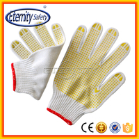 hot bleached color 7gauge polycotton pvc dotted glove
