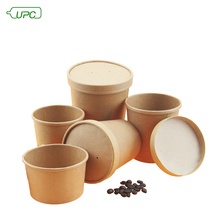Custom Print Biodegradable Kraft Food Container Soup Cup/Disposable Paper Soup Bowls with Lid