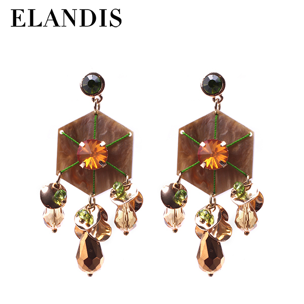 2015 cheap latest European and American Fan With Rhinestone color retention gold green resin white gold crystal earrings
