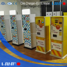 Automatic token changer coin change vending machine with the door from back side for laundry shop