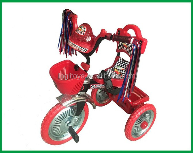 2017 with colorful ribbon baby plastic kids tricycle,walking tricycle