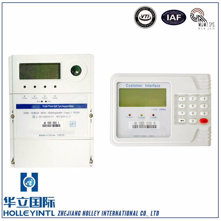 Real time measures voltage, current Single Phase Active Energy Ic Card Electricity Prepayment Meter