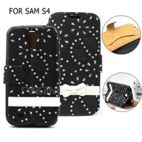 Wholesale Elegant Bowknot Wallet Leather Cover Flower Butterfly Case for Samsung Galaxy S4