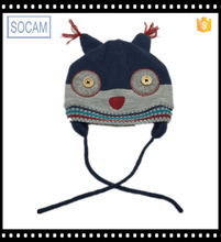 100% Acrylic earflap Manufacturer of Cute Handmade owl animal patterns knitted beanie hat for kids