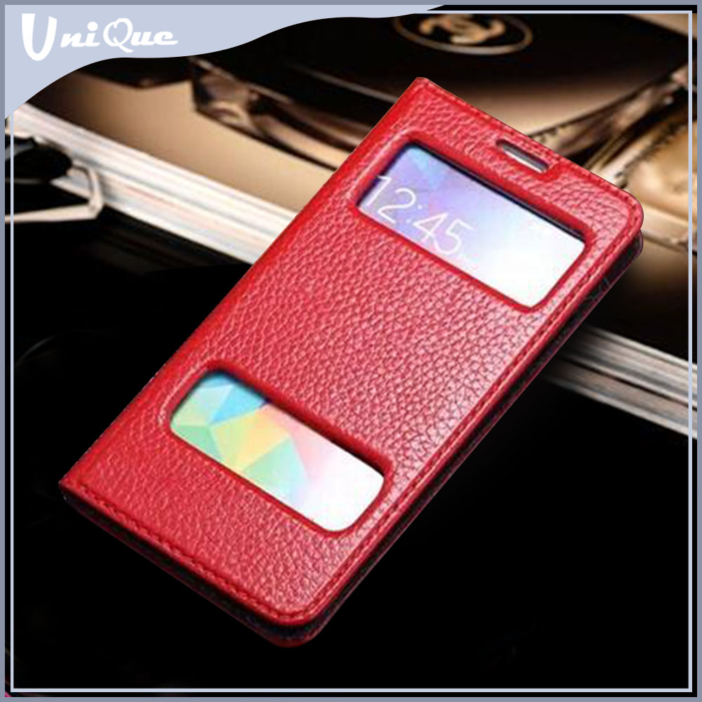 High quality with competitive price pure leather case cover for samsung galaxy trend 2 lite, two mobile phones leather case