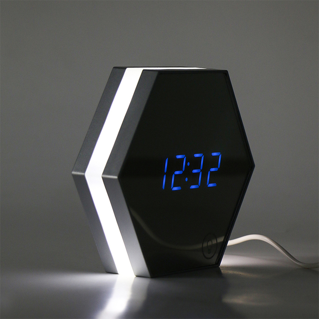 KH-0222 2018 King Height Cool Mirror face Digital Alarm Clock with Date and Temperature Display