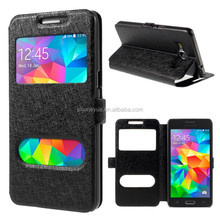 Phone Case Factory Dual View Window PU Leather Case for Samsung Grand Prime