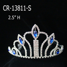 Wholesale cheap sapphire rhinestone small tiara and crown