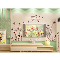 Eco-friendly custom colorful removable transparent DIY art tree branch butterfly paper mural vinyl tree wall decals