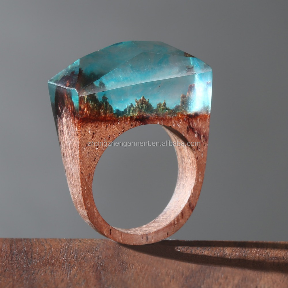 New design handmade secret wood rings for womens ,handcraft original design resin ring mini worlds inside