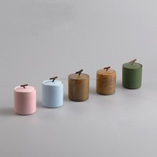 Round Shape Matte Color Mini Ceramic Tea Canister With Lid