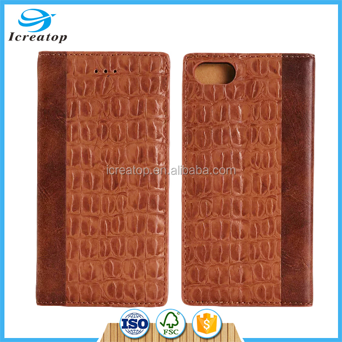 Black Crocodile PU Leather Stand Flip Wallet Case For Apple iPhone 7 Plus