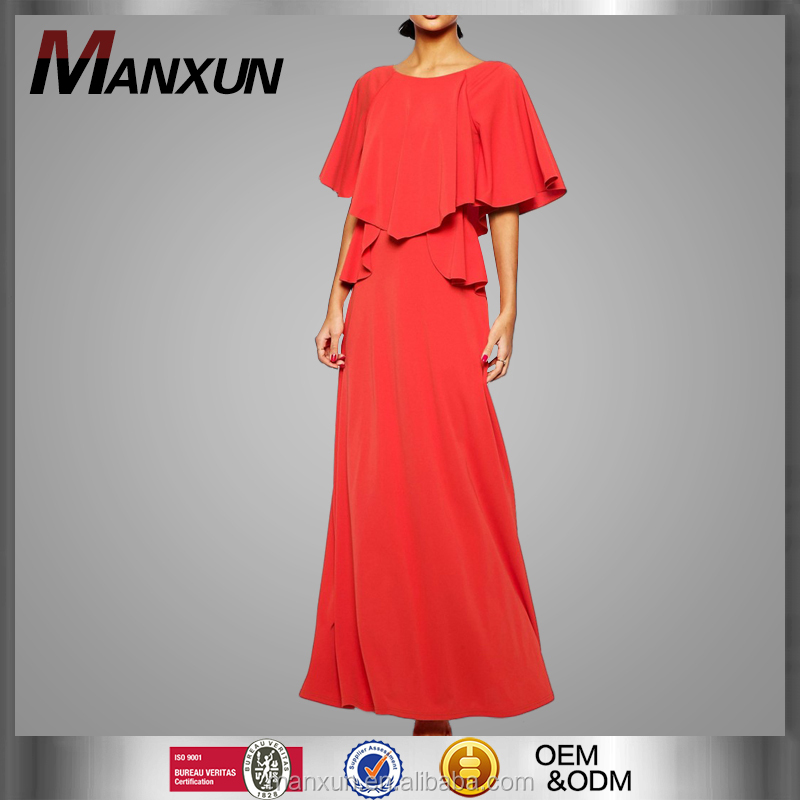 Women Fashion Dress Design Red Colour Long Maxi Dress for Causal or Party Wear Evening Casual Long Dress