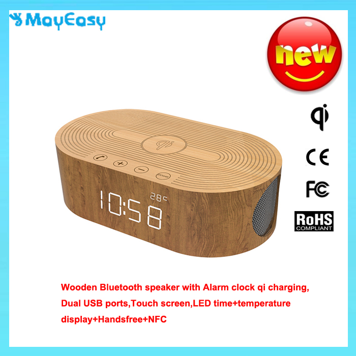 New Wooden Bluetooth speaker phone USB charging subwoofer creative time bedside alarm clock mini stereo speaker