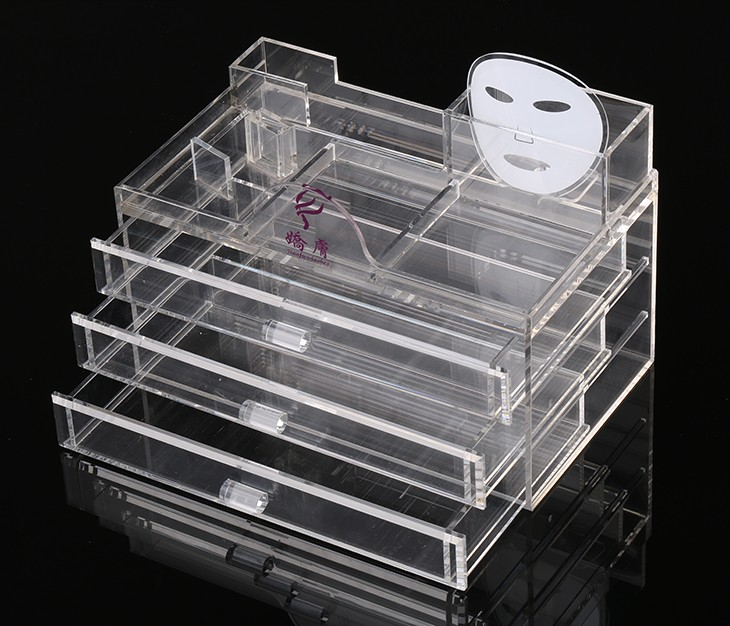 Hot Sell Transparent Acrylic Cosmetic Display Box With 3 Drawers