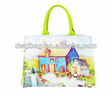 2013 New design promotional gifts fashion lady handbags for printed canvas designer handbag