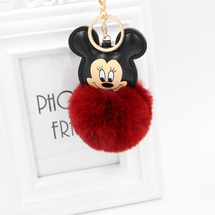 Christmas gift creative plush pendant cute faux rabbit fur ball Mickey Mouse keychain for kids bags phone