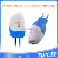 Mango shape 2.1A Charger Adapter Portable Traval /USB Wall Charger For iPhone 6