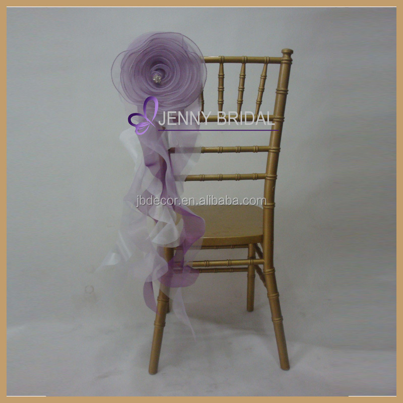 C181E 2015hot and new purple organza chair sash with flower for chiavari chairs