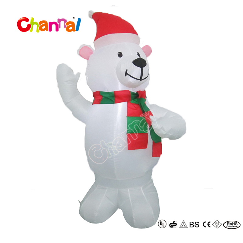 120cm High Christmas Decoration Giant Inflatable Polar Bear with Hat for Kids Party