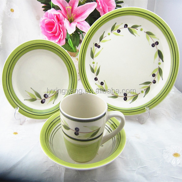decaled 16 pcs stoneware dinner set, ceramic dinnerware
