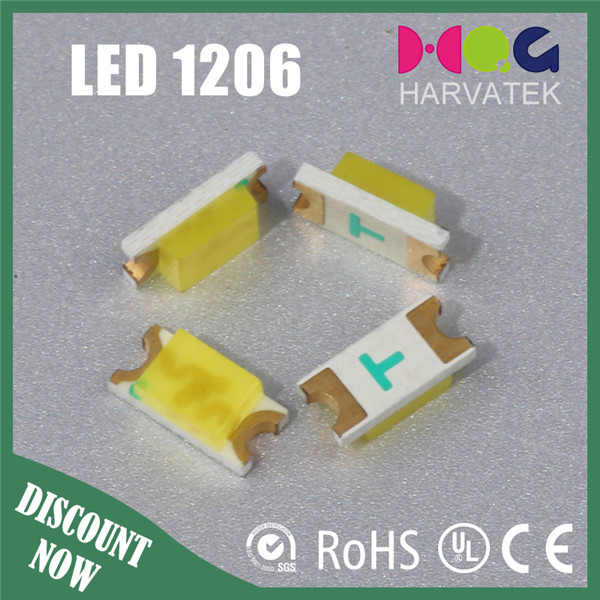 LED White Diffused 1206 SMD 120deg 22-24lm Light Emitting Diode