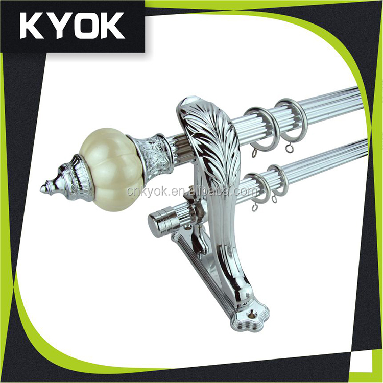 KYOK stainless steel sliver curtain rod, european style metal curtain poles, decorative triple curtain rod bracket