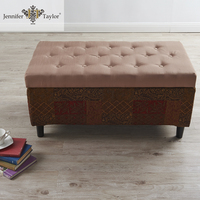 Old Canvas Fabric Home Bench Storage