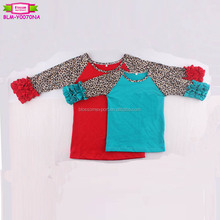 High quality baseball shirts cotton boutique icing ruffles sleeve blank red tshirt 3/4 sleeves leopard toddler raglan