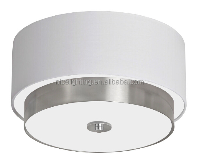 Metal flush mount round white fabric shade&frosted glass &E27/E26 bulb ceiling lamp