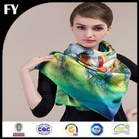 Custom digital printed 100 white silk scarf for painting