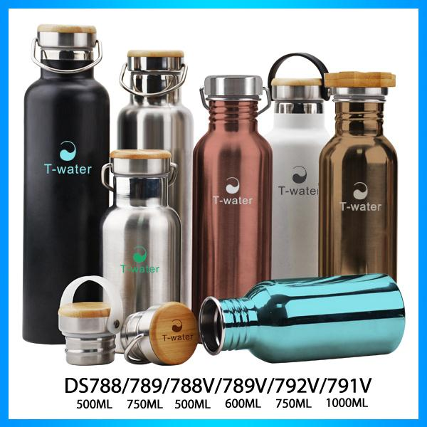 Promotional handle eaay carrying BPA free stainless steel large volume water bottle with grip