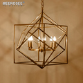 MEEROSEE Modern Gold Metal Frame Chandelier E14 Bulbs Brass Hanging Pendant Lamp For Restaurant Decoration MD85516-L6