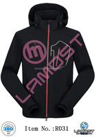 Mens fashion soft shell outer jackets in black with polar fleece lining