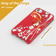 Electroplating transparent King ring kick stand cell phone case for iPhone 4 5 6