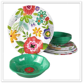 Beautiful flower full print 100% melamine food grade royal dinnerware