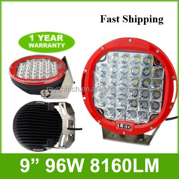 Red Round 9'' 96W <strong>Crees</strong> Led Driving Flood Work Light 4WD Offroad VS Hid 100W