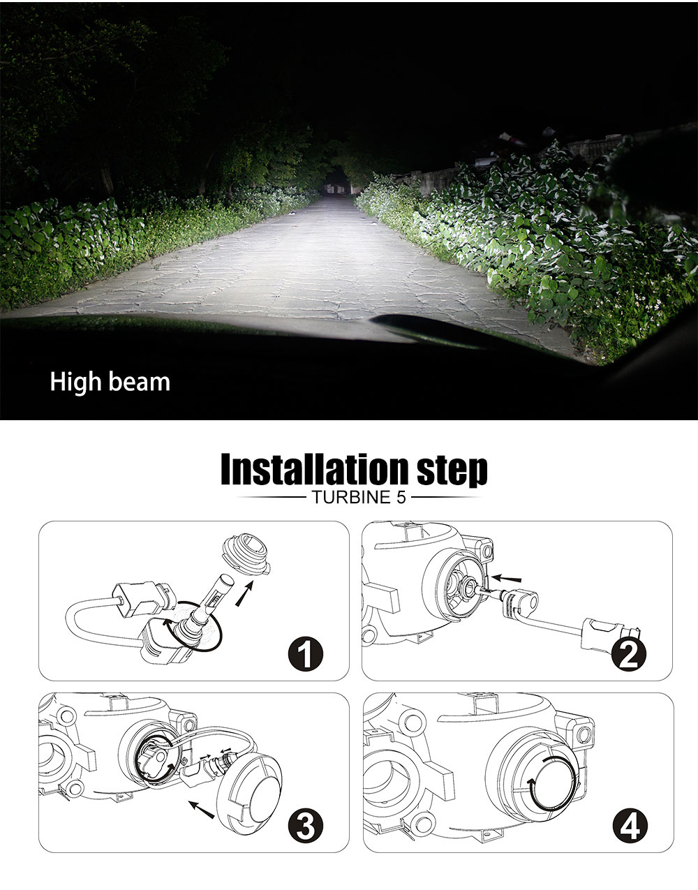 2017 Flydee Seoul CSP Led Car Light 4200LM CSP T5 Turbine LED Headlight with Fan for H4 H7 H11