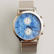 Custom Logo Mesh Band blue ceramic Dial Watch with Miyota Quartz stainless steel Watch