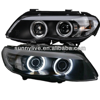 2004-2006 Year For BMW X5 E53 LED Angel Eyes Head Light Lamps Black Housing SN