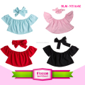 Candy Color Kids Clothing Summer 2 pcs Kids Shirts Baby Off Shoulder Crop Top