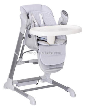 Duet connect baby high chair plus swing,kid feeding table with swing,new design electrical baby swing and chair